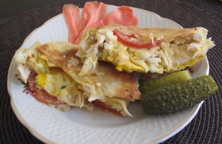 Лаваш с курицей и яйцом на сковороде (пошаговый фото рецепт)