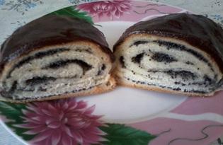 Маковые булочки с шоколадной глазурью (пошаговый фото рецепт)