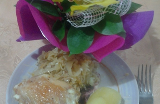 Окорочка на капусте (пошаговый фото рецепт)