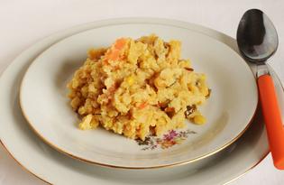 Кукурузно - гороховая каша с овощами (пошаговый фото рецепт)