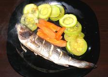 Сибас, запеченный с овощами (пошаговый фото рецепт)