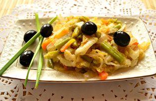 Пекинская капуста, тушеная со стручковой фасолью (пошаговый фото рецепт)