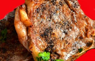 Антрекот из свинины на сковороде (пошаговый фото рецепт)