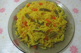 Рис с болгарским перцем и стручковой фасолью в мультиварке (пошаговый фото рецепт)