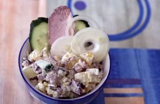 Картофельный салат с бужениной и морской капустой (пошаговый фото рецепт)