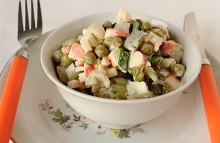 Простой салат из крабовых палочек с луком (пошаговый фото рецепт)