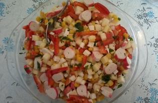 """Салат """"Крабовый"""" с плавленым сыром и яблоком (пошаговый фото рецепт)"""