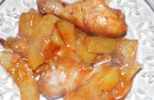 Запеченные куриные голени с картофелем в кетчупе и майонезе (пошаговый фото рецепт)
