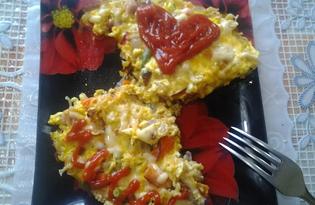 Омлет с овощами и лапшой быстрого приготовления Роллтон (пошаговый фото рецепт)