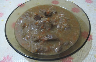 Говяжья печень с густой подливой в мультиварке (пошаговый фото рецепт)
