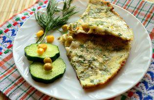 Яичница с кукурузой и горошком (пошаговый фото рецепт)