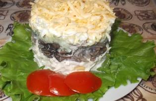 """Легкий слоеный салат с грибами и сыром """"Башня"""" (пошаговый фото рецепт)"""