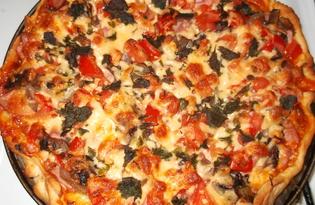 Пицца с колбасой и шампиньонами (пошаговый фото рецепт)