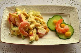 Салат с королевскими креветками и крабовыми палочками (пошаговый фото рецепт)