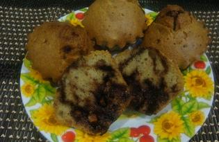 Кексы с шоколадной начинкой (пошаговый фото рецепт)