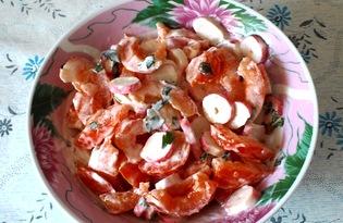 Салат из помидоров и крабовых палочек с зеленью (пошаговый фото рецепт)