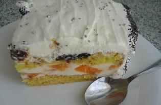 """Торт """"Птичье молоко"""" с консервированными абрикосами (пошаговый фото рецепт)"""