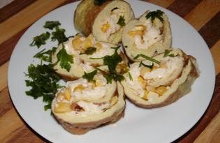 Быстрая закуска из омлета с плавленным сыром и кукурузой (пошаговый фото рецепт)