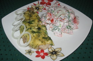 Хек под соусом из зелени и сыра (пошаговый фото рецепт)