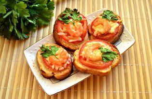 Праздничные горячие бутерброды с королевскими креветками (пошаговый фото рецепт)
