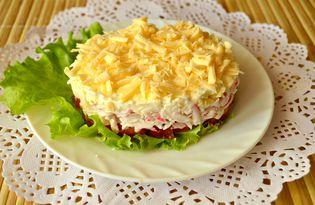 Слоеный салат с помидорами и крабовыми палочками (пошаговый фото рецепт)