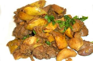 Куриная печень с яблоками в винном соусе (пошаговый фото рецепт)