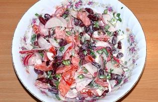 Салат из фасоли, томатов и редиса (пошаговый фото рецепт)