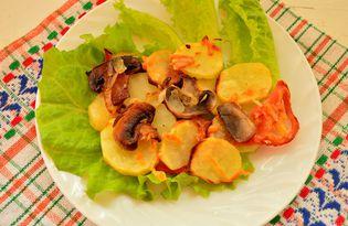 Шампиньоны с молодым картофелем в духовке (пошаговый фото рецепт)