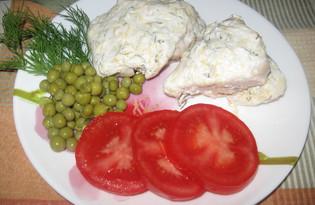 Отварная курица под сметано - сырным соусом (пошаговый фото рецепт)