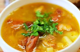 Гороховый суп с копчёными куриными спинками (пошаговый фото рецепт)