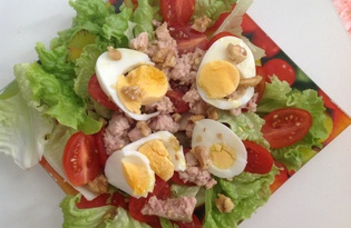 Летний салат с тунцом (пошаговый фото рецепт)