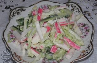 Свежий салат из огурцов, капусты и крабовых палочек (пошаговый фото рецепт)