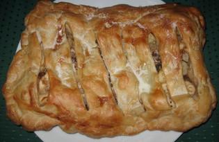 Слоеный пирог с яблоками и орехами (пошаговый фото рецепт)