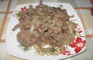 Говядина в духовке с луком (пошаговый фото рецепт)
