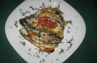 Баклажан, запеченный с помидором и сыром (пошаговый фото рецепт)