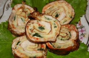 Рулет куриный с омлетом (пошаговый фото рецепт)