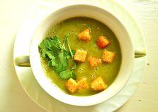 Суп - пюре из замороженных овощей с сухариками и зеленью (пошаговый фото рецепт)