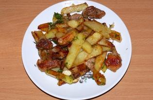 Свинина, жаренная с картофелем, луком и чесноком (пошаговый фото рецепт)