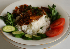 Белый рис с поджаркой из стручковой фасоли (пошаговый фото рецепт)