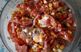 Салат с кукурузой и болгарским перцем (пошаговый фото рецепт)