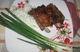 Свиные ребра с горчицей и луком (пошаговый фото рецепт)
