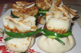 Блинные мешочки с капустой и яйцом (пошаговый фото рецепт)