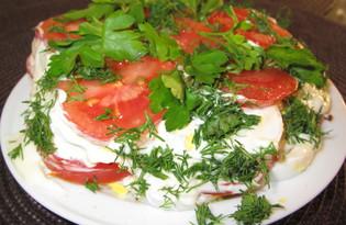 Закуска из яиц и помидор (пошаговый фото рецепт)