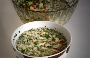 Окрошка вегетарианская (пошаговый фото рецепт)