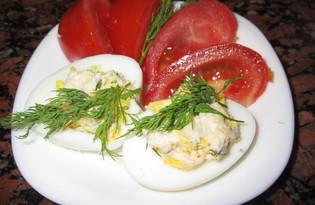 Фаршированные яйца с курицей и чесноком (пошаговый фото рецепт)