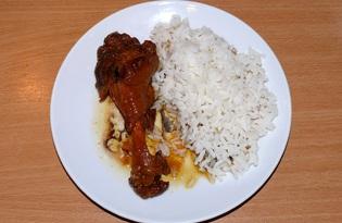 Кисло - сладкие утиные кусочки с рассыпчатым рисом (пошаговый фото рецепт)