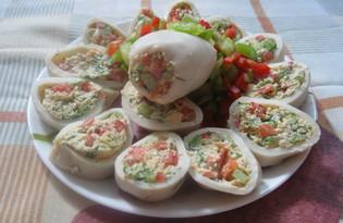Кальмары фаршированные болгарским перцем и сыром (пошаговый фото рецепт)