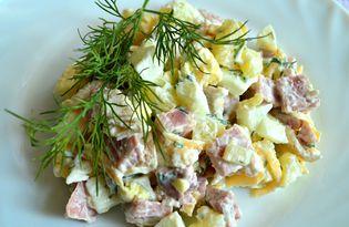Мясной салат с сыром (пошаговый фото рецепт)