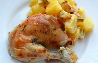 Курица с картошкой и кабачками в духовке (пошаговый фото рецепт)