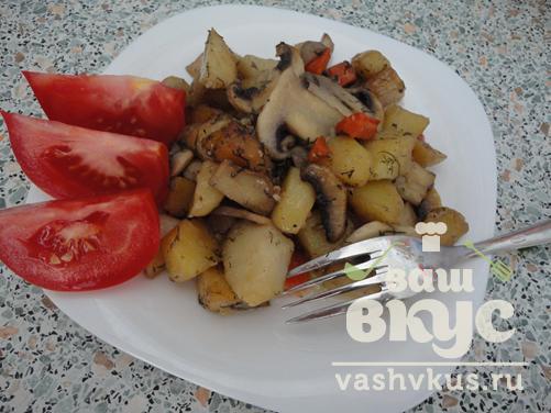 Жареные шампиньоны с картошкой рецепт пошагово